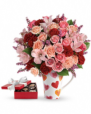 Lovely Hearts Bouquet in a mug with chocolates