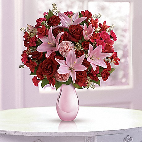 Teleflora's Roses and Pearls Bouquet - red roses, pink asiatic lilies, red alstroemeria, and pink carnations