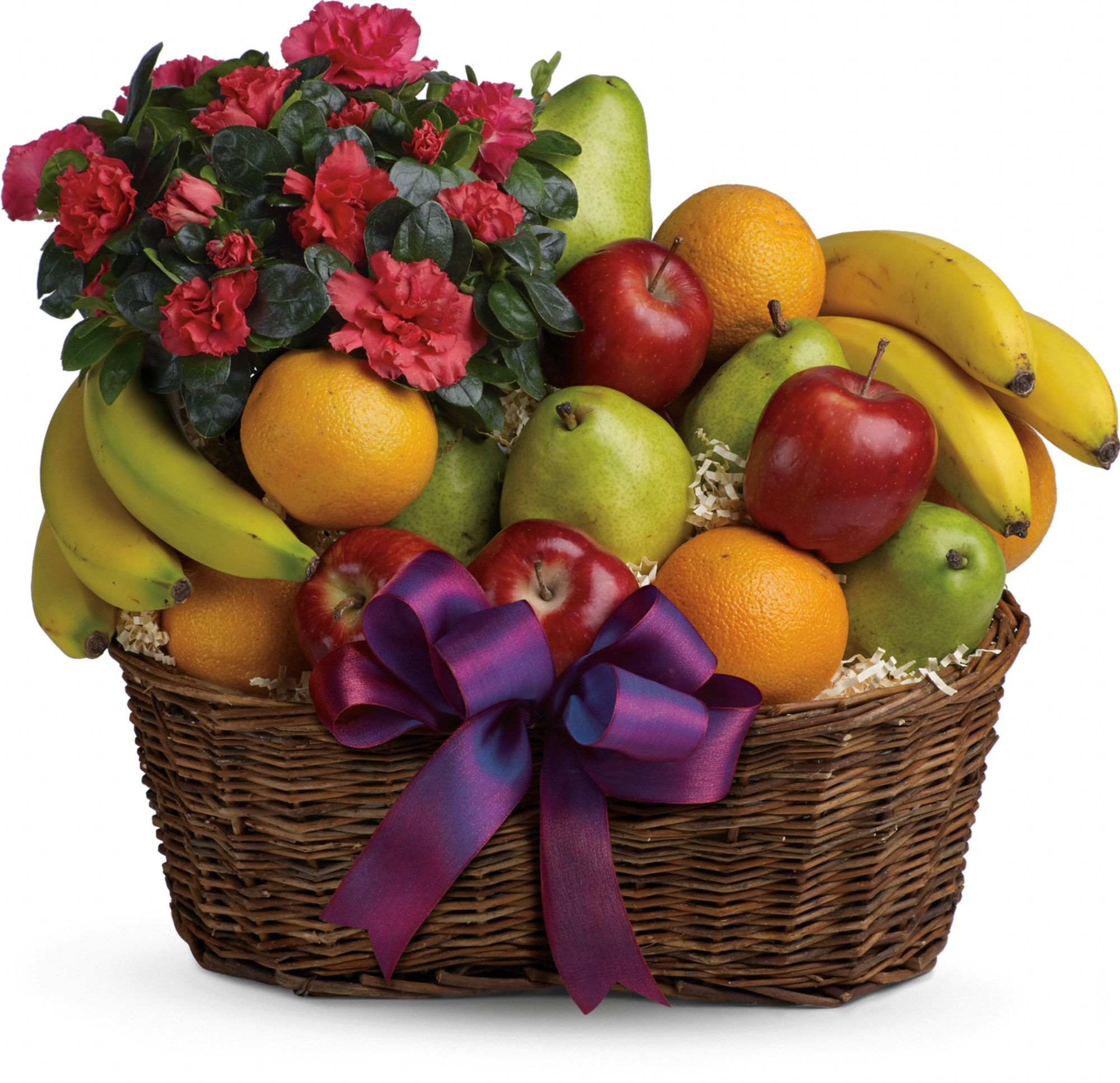 Fruits and Blooms Gift Basket with a flowering plant