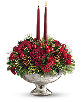 Teleflora's Mercury Glass Bowl Bouquet Bouquet