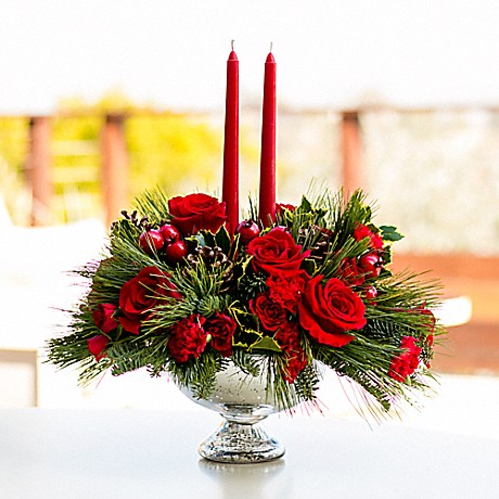 Teleflora's Mercury Glass Bowl Christmas Bouquet with candles