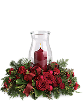 Holiday Glow Centerpiece Flower Arrangement