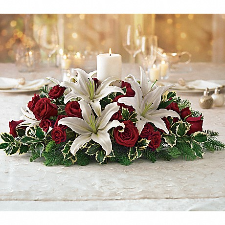 Luminous Lilies Christmas Centerpiece with candles