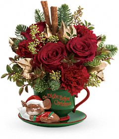 Night Before Christmas bouquet with keepsake teacup