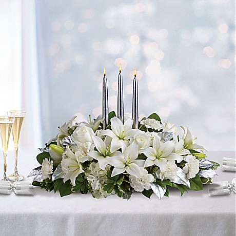Silver Elegance Centerpiece with candles