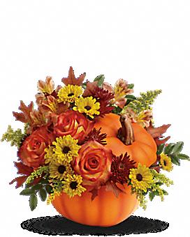 Arrangement floral avec Bouquet Meilleurs vœux d'automne de Teleflora