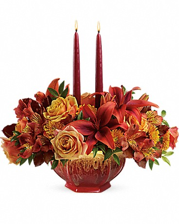 Teleflora's Bounty Of Beauty Centerpiece with candles