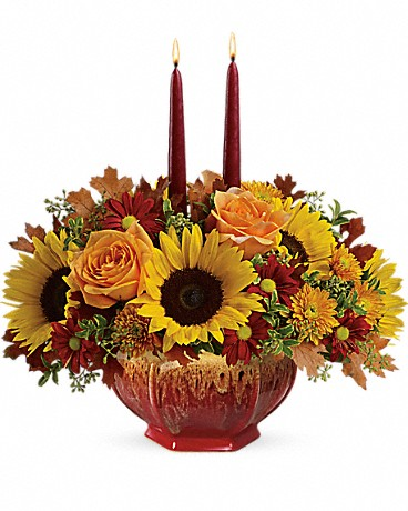 Teleflora's Thanksgiving Garden Centerpiece with candles