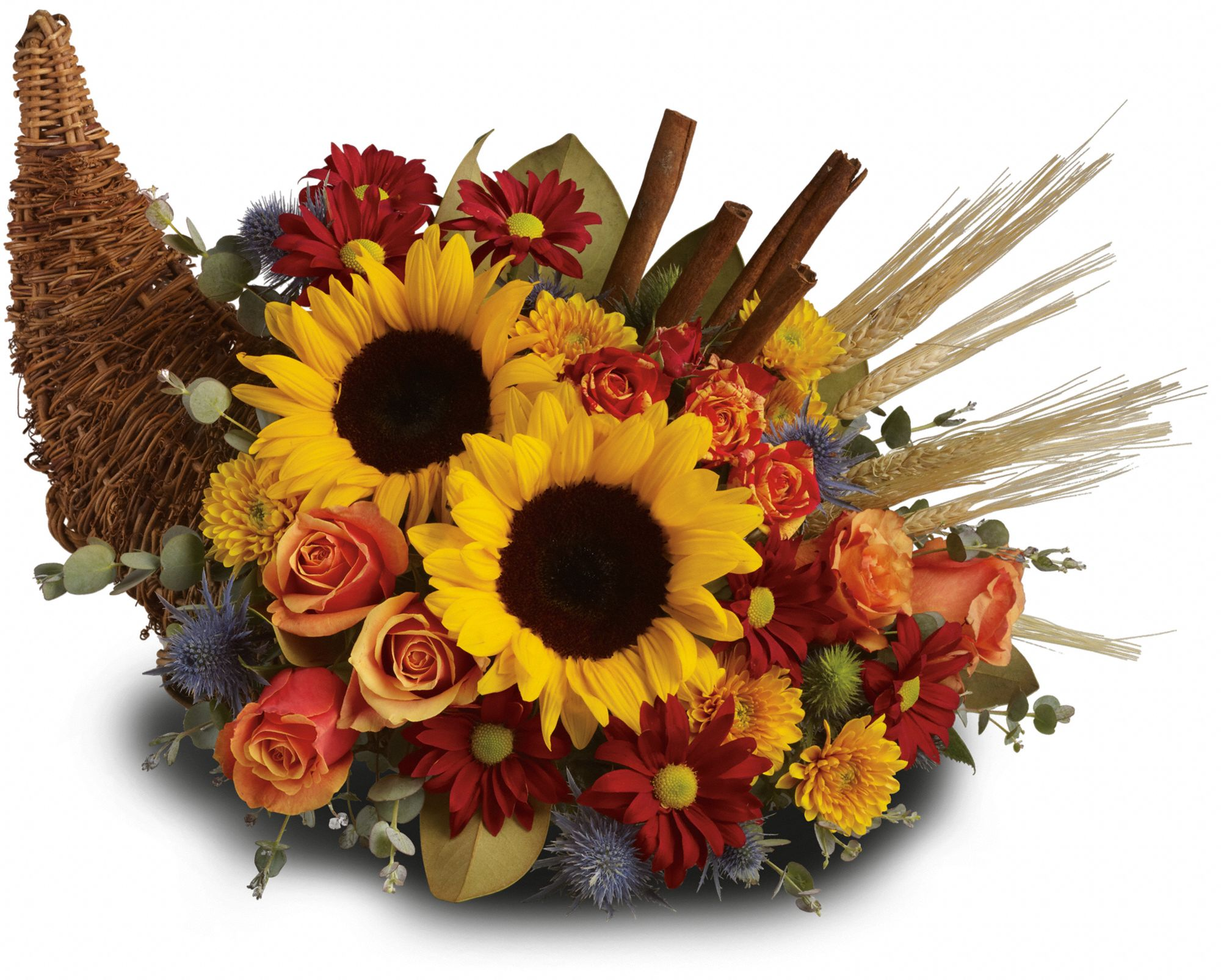 Cornucopia with fresh flowers