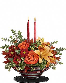 Arrangement floral centre de table Rencontre automnale de Teleflora