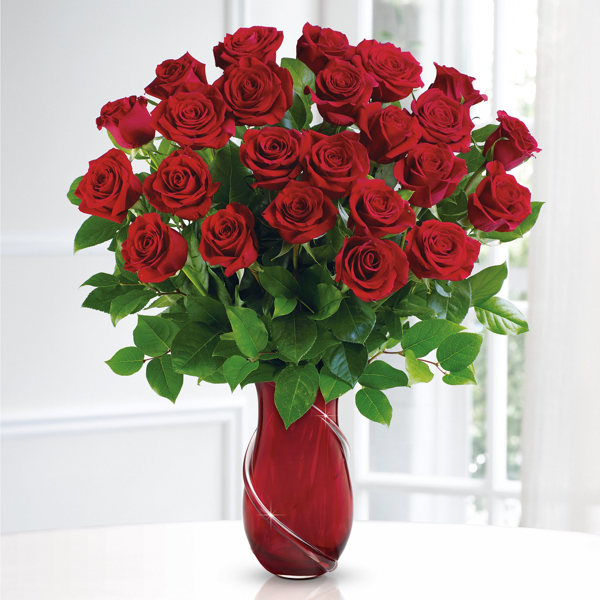 Teleflora's Wrapped In Roses Valentine's Bouquet - two dozen red roses in a keepsake vase