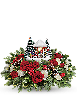 Thomas Kinkade's Jolly Santa Bouquet Flower Arrangement