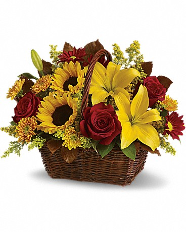 Golden Days Basket with sunflowers
