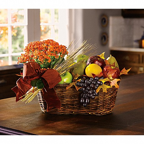 Fresh Picked Gift Basket of fruit and a plant