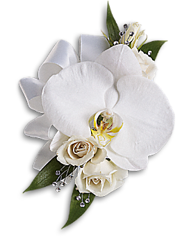 White Orchid and Rose Corsage Corsage