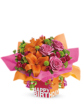 Teleflora's Rosy Birthday Present Flower Arrangement
