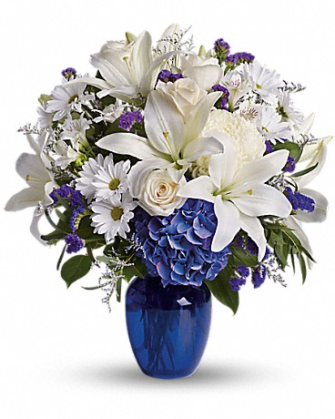 Beautiful in Blue bouquet of lilies, daisies and hydrangeas