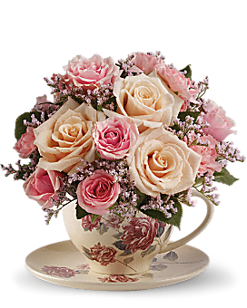 Teleflora's Victorian Teacup Bouquet Flower Arrangement
