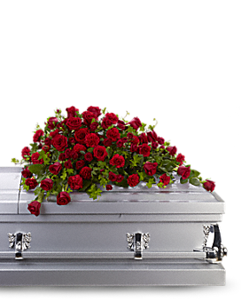 Red Rose Reverence Casket Spray Sympathy Arrangement