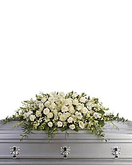 Purity and Peace Casket Spray Sympathy Arrangement