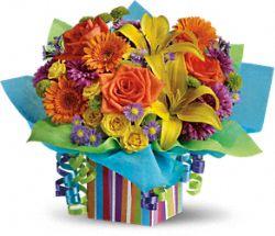 Rainbow Present colorful bouquet