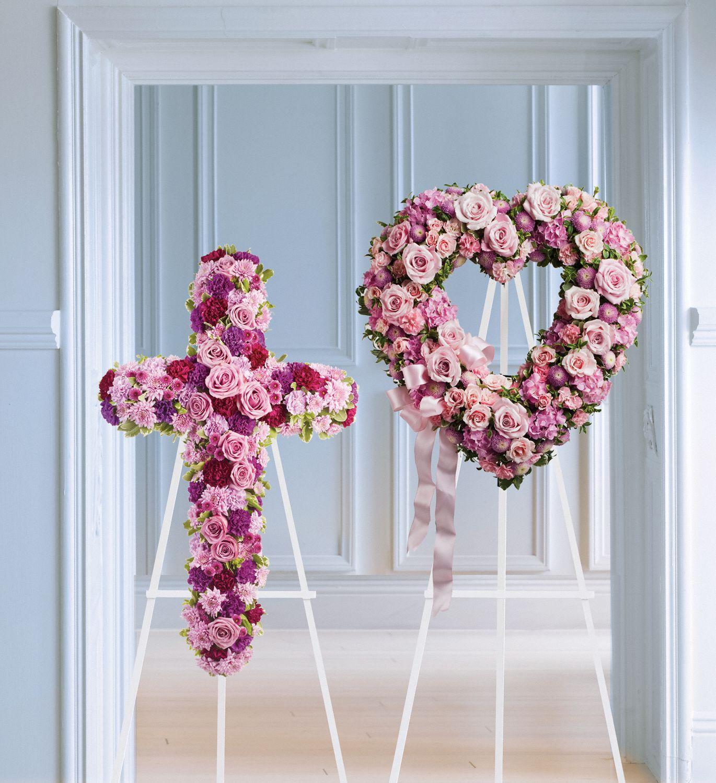Rose Garden Heart and Cross Funeral Wreaths