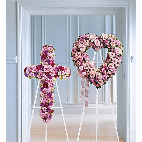 Rose Garden Heart and Cross Funeral Wreaths