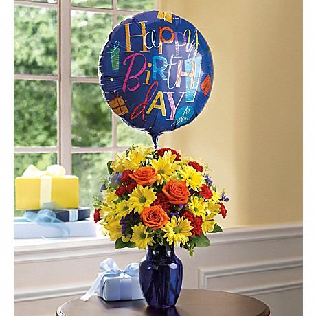 Fly Away Birthday Bouquet with mylar balloon