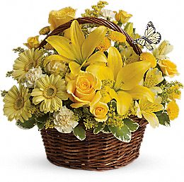 Basket of Wishes - yellow flowers in a basket