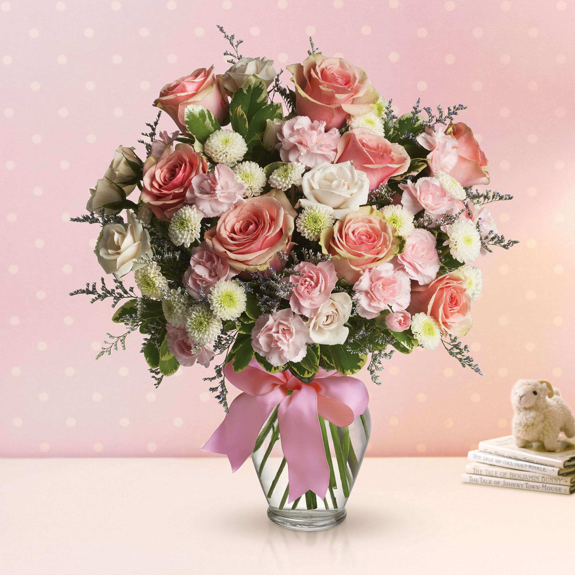 Cotton Candy bouquet - pink and white flowers including roses, miniature carnations and button spray chrysanthemums.