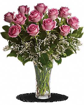Make Me Blush - Dozen Long Stemmed Pink Roses Bouquet