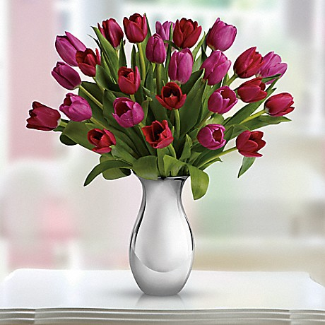 Teleflora's Sweet Surrender Bouquet - red and pink tulips in Silver Reflections vase