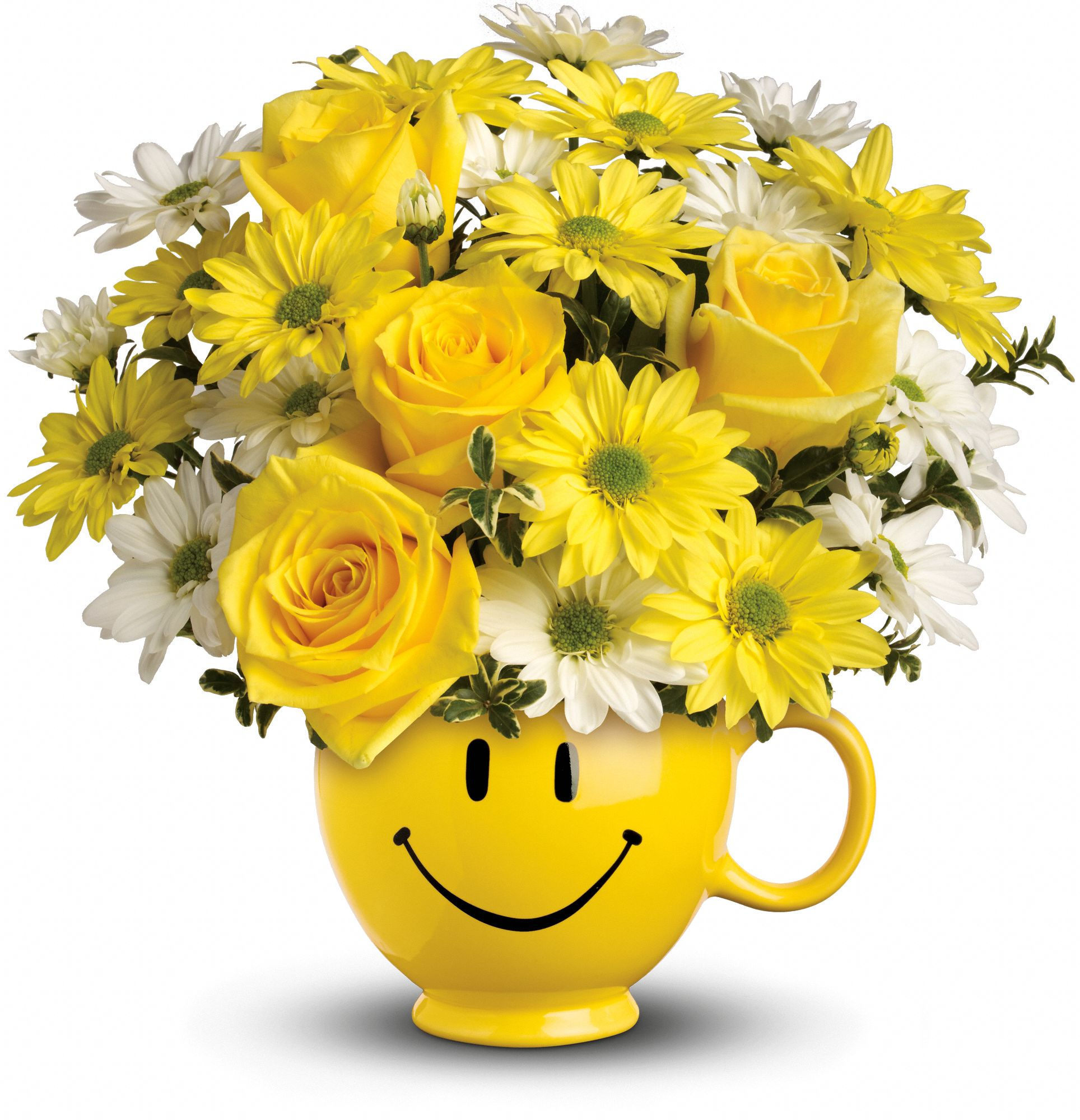 Be Happy coffee mug bouquet