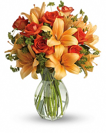 Fiery Lily and Rose arrangement