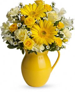 Sunny Day Pitcher of Cheer Bouquet