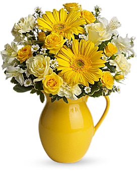 Teleflora's Sunny Day Pitcher of Cheer Bouquet