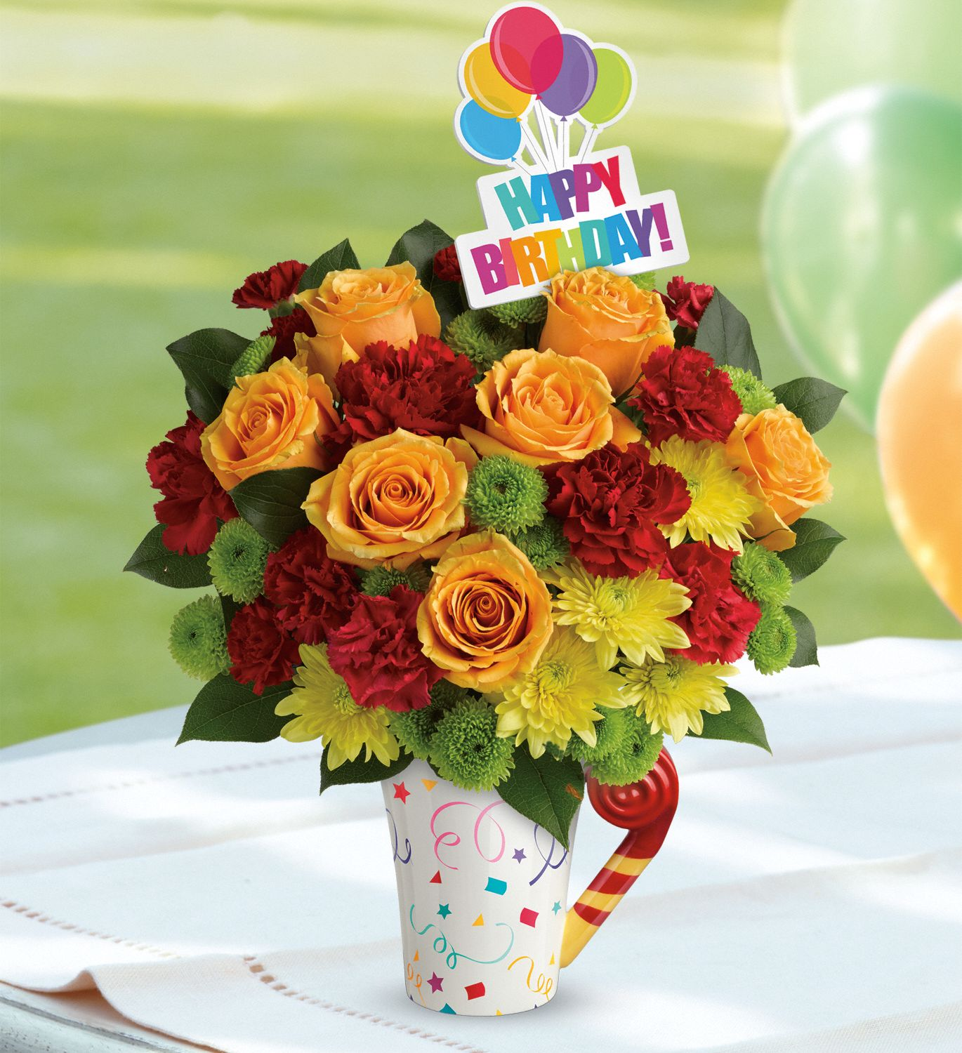 Teleflora's Fun 'n Festive Birthday Bouquet with red carnations