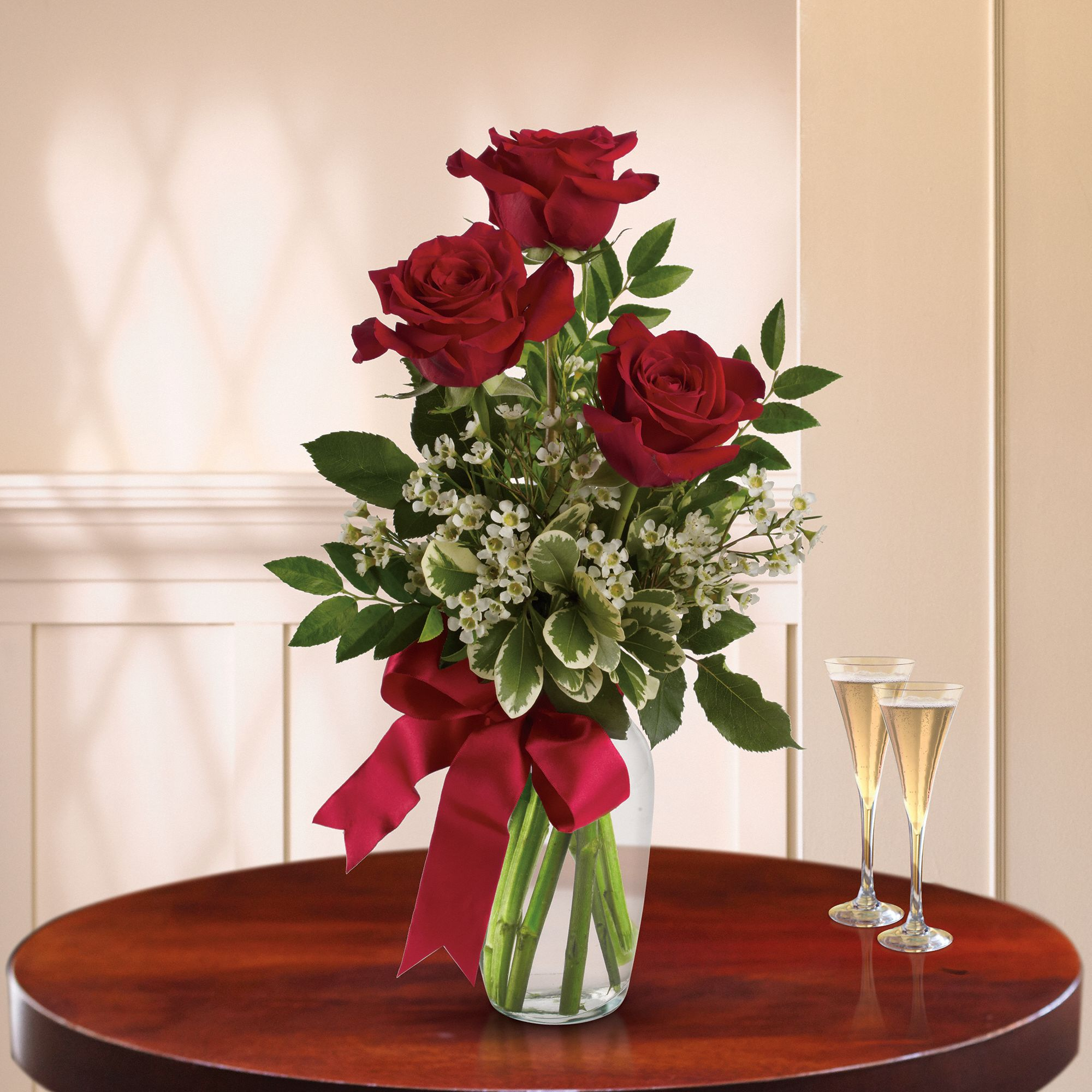 Thoughts of You Bouquet with Red Roses - trio of red roses in a sparkling vase is so surprisingly affordable that you may want to send it to several special people.