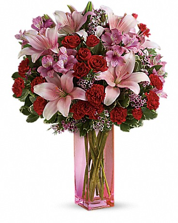Teleflora's Hold Me Close Bouquet red roses, pink asiatic lilies, pink alstroemeria, miniature red carnations