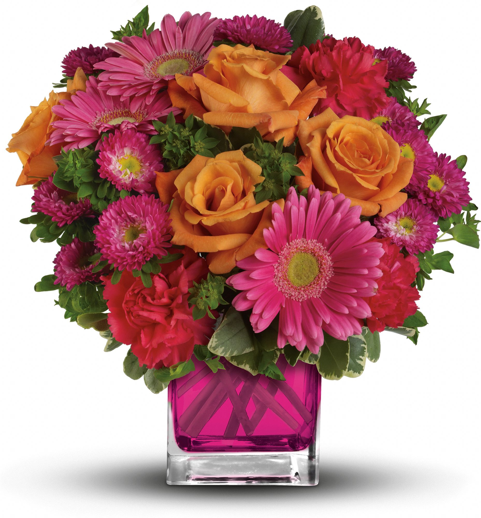 Turn up the Pink Bouquet - pink and orange flowers in a fuschia vase