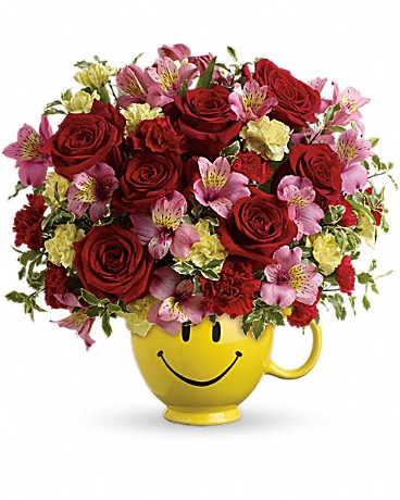 So Happy You're Mine Bouquet by Teleflora is hand-delivered by a local florist to his home or workplace in our exclusive smiling ceramic mug.