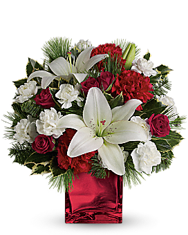Caroling in the Snow by Teleflora Flower Arrangement